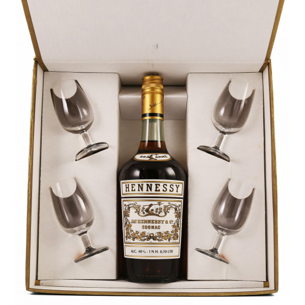 Hennessy Bras Armé 1960's gift set with 4 glasses - Vintage Liquors