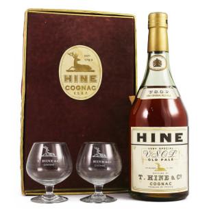 Hine VSOP 1960's coffret avec 2 verres