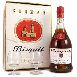 Bisquit 3 stars 1960's with 2 glasses
